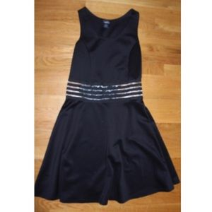 fun black dress w/ transparent waist accents